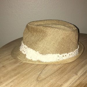 Accessories - Women s tan fedora hat with lace trim 7391a7bf2af